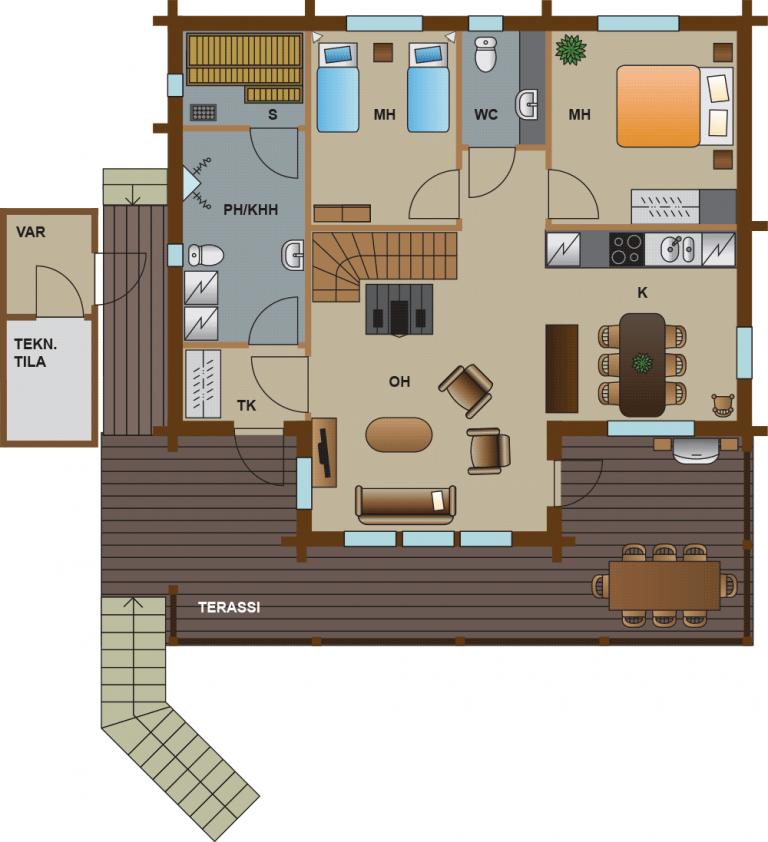 pohjakuva villa 3 vuokatti majoitus huvila
